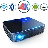 "Mini Projector HD DLP Video Max200"" Home Video Theater 3500 Lumens Support 2K/4K Wireless WiFi Bluetooth Android System Game Office IPhone Multi-Screen Sharing HDMI USB SD Card AV Black"