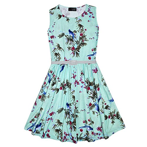 A2Z 4 Kids® Girls Skater Dress Kids Floral Mint Abstract Belted Summer Party Dance Dresses Age 7 8 9 10 11 12 13 Years