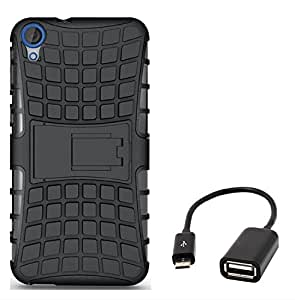 Chevron Tough Hybrid Armor Back Cover Case with Kickstand for hTC Desire 820G+ with Micro OTG Cable (Black)