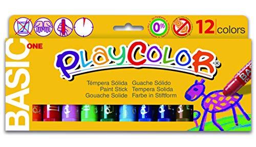 Playcolor 10731 Tempere Solide, Confezione da 12 pezzi con colori diversi