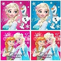 DisneyFrozen Eisprinzessin 4 x Niños Invitados Toalla de Cara de manopla Toalla 30 x 30 cm