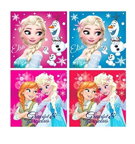 4 x Kinder Gästetuch Handtuch Gesichtstuch Waschlappen 30x30 cm - 100% Baumwolle - Disney Frozen ELSA Anna Eisprinzessin Olaf – tolles Geschenk für Mädchen (Olaf ELSA Anna)