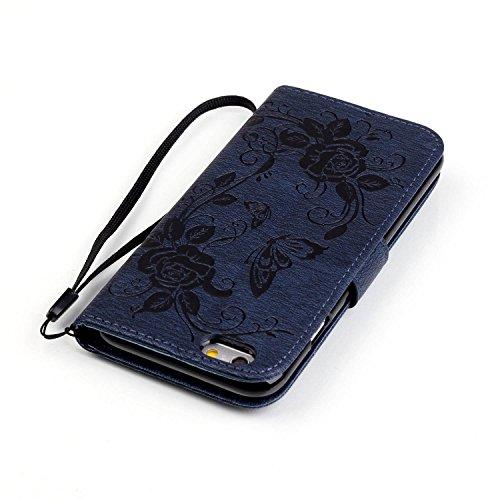 Meet de pour Apple iPhone 6 / iphone 6S Case, Coller forage Embossed papillon Folio pour Apple iPhone 6 / iphone 6S PU Housse / Wallet / flip étui / Pouch / Case / Holster / Wallet / Case en cuir Wall saphir