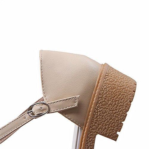 Schnalle Absatz Zehe Schließen Leder Damen Rein Aprikosen Pu Sandalen Farbe Niedriger Aalardom nOZwRxqW8