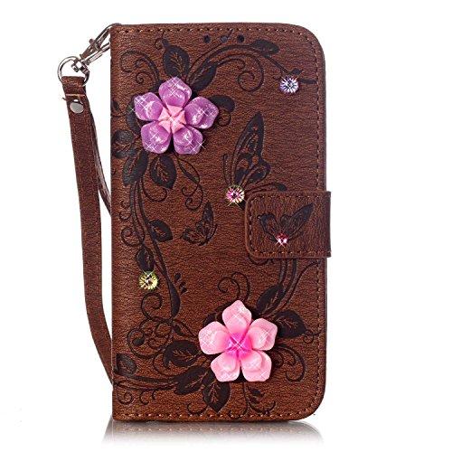 iPhone Case Cover IPhone 7 plus cas, étui décor strass en relief fleurs papillon étui en cuir PU étui portefeuille avec sangle pour iPhone 7 plus ( Color : Dark Blue , Size : Iphone 7 Plus ) Brown
