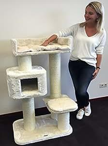 kratzbaum f r gro e katzen devon rex xxl creme 15cm st mme 70x50x120cm und stabil 30kg. Black Bedroom Furniture Sets. Home Design Ideas