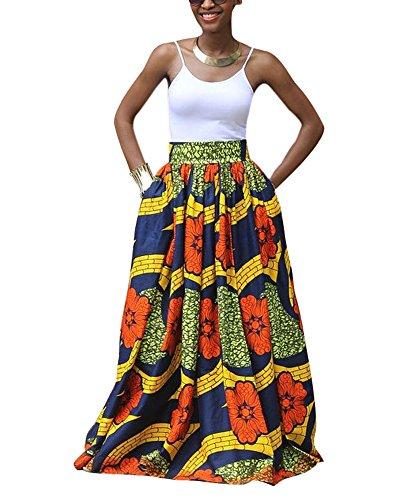 Frauen-Afrikanisches Blumendruck gefaltetes hohe Taille Maxi beiläufiger Rock eine Linie Rock (Kente Rock)