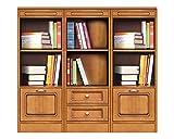 Wohnwand Bücherregal niedrig klein, Möbel modular aus Holz für Haus Büro, Wohnwand klassisch modern aus Holz Höhe 108,5 cm, Einrichtung Made in Italy