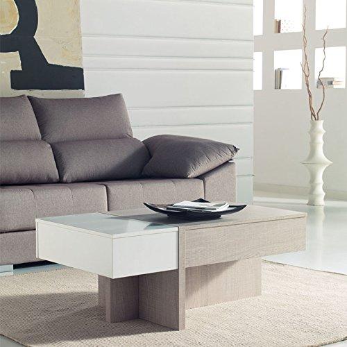 Tousmesmeubles Table Basse relevable Blanc/chêne Clair - AJAR - L 110 x l 60 x H 44/58 - Neuf