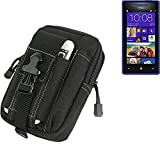 K-S-Trade Belt pouch/holster for HTC Windows Phone 8X, black | Extra compartments with space for Power bank, hard drive, etc (TM)