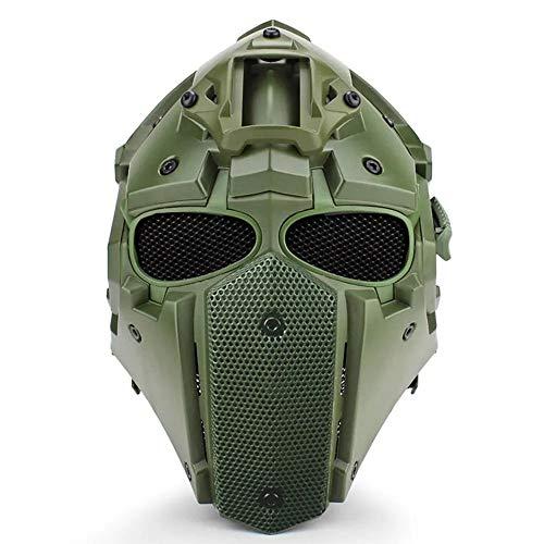 Multifunktionale Taktische Helm, Offroad Motorrad Anti-Shock Militärische Einstellbare Helm + Fan + Maske + Brille,Green