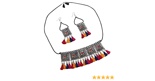 Designer Multicolor Fabric Thread With Beads Studded Three Layered Pastel Design Bridal Choker Necklace Adjustable Thread Indian Jewelry