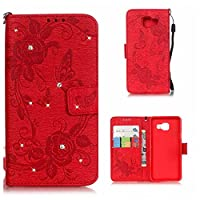 Galaxy A3 2016 Case, KKEIKOŽ Galaxy A3 2016 Wallet Case [with Free Screen Protector], Premium Flip Leather Case and Cover with Bling Rhinestone, Shockproof Bumper Cover Case for Samsung Galaxy A3 2016 (Red)