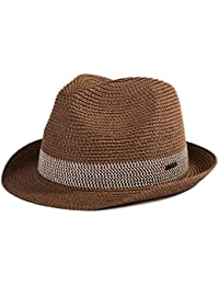 28e421b3384 SiggiHat Panama Summer Fedora Trilby Straw Sun Hats For Men Safari Beach Hat  - Foldable