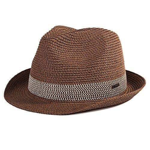 SIGGI Sommerhut kaffeebrauner Sonnenhut Panama Webart Stroh Fedora Hut mit Sonnenschutz