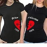 2 Partner Look BFF T-Shirts mit geteiltem Herz | Buchstaben frei wählbar | in versch. Farben | BEST FRIENDS FOREVER | als Geschenk für Freundinnen | Geburtstag (Schwarz)