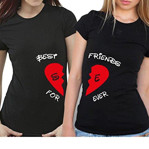 2 Partner Look BFF T-Shirts mit geteiltem Herz | Buchstaben frei wählbar | in versch. Farben | BEST FRIENDS FOREVER | als Geschenk für Freundinnen | Geburtstag (Schwarz) Buchstabe B Shirt