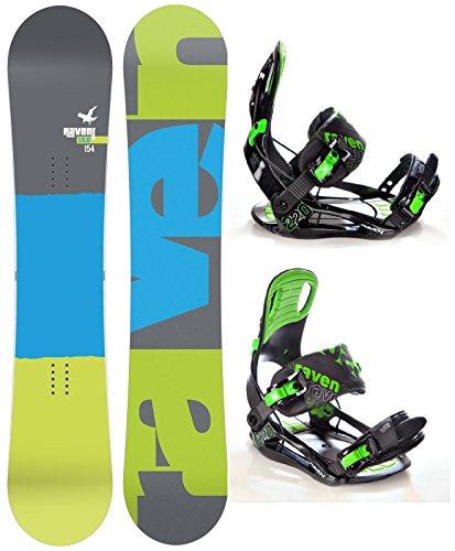 Snowboard Set: Snowboard Raven Solid Carbon + Bindung Raven s220 Green L