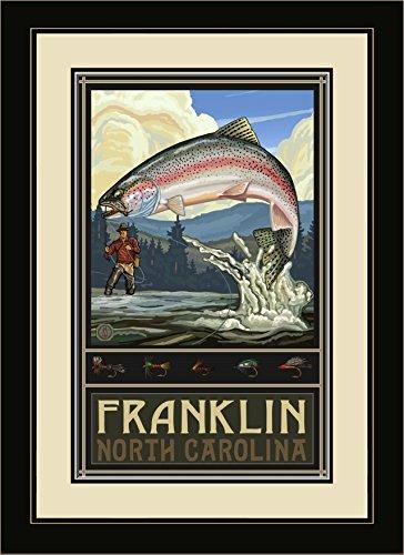Northwest Art Mall pal-5006fgdm ftfh Franklin North Carolina Rainbow Trout Fisherman Hills gerahmtes Wandbild Art