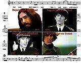 Die Beatles Briefmarken - George Harrison - 4 Fotos des legendären Beatle - Mint und postKleinBogen mit 4 Marken