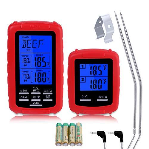 GOAMZ Digital Grillthermometer, Barbecue Funk Grillthermometer Bratenthermometer Fleischthermometer Set Wireless BBQ Thermometer Grill mit 2 Temperaturfühlern für BBQ, Küche, Steak, Ofen und Grills