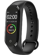 Wazdorf M4 Band Intelligence Bluetooth Health Wrist Smart Band Watch Monitor/Smart Bracelet/Health Bracelet/Smart Watch for Mens/Activity Tracker/Waterproof Fitness Tracker(Black)