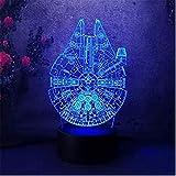 3D-Nachtlicht-Berührungsschalter Bunte Gradientenstimmung Beleuchtung Tischlampe Star Wars Home Millennium Kid Bedroon Lampe Falke [Energieklasse A ++]