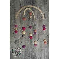 Mobile Holz Filz   Perlen Kugel natur