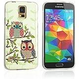 tinxi® Süß Design Schutzhülle für Samsung Galaxy S5/S5 Neo Hülle TPU Silikon Rückschale Schutz Hülle Silicon Case zwei Eulen auf dem Ast Owl Uhu Kauz Muster