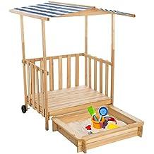 TecTake Arenero con techo para niños Veranda Madera Protección contra el Sol - disponible en diferentes colores - (Azul | No. 401805)