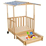 TecTake Sandkasten mit Dach Spielhaus Spielveranda Holz Sonnenschutz - Diverse Farben - (Blau | Nr. 401805)