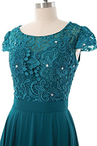 MACloth Women Cap Sleeve Mother of Bride Dress Vintage Lace Evening Formal Gown Regency