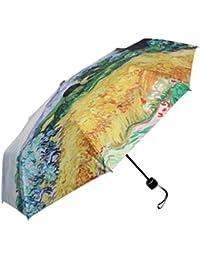 Go Further Van Gogh pintura a prueba de viento de ciprés receptor de tres paraguas plegable