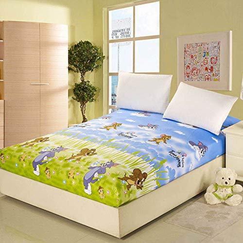 SUYUN Coprimaterasso Impermeabile coprimaterasso Impermeabile,Cotone Singolo Gatto e Topo 120 * 200 cm