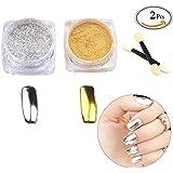 Travelmall Oro Plata 2Box 2G de polvo Pigmento cromo Pigmento de uñas Glitter de Uñas Polvo de polvo de espejo lentejuelas