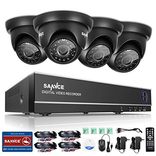 SANNCE CCTV Überwachungssystem 4CH 720P Videoüberwachung DVR Recorder ohne Festplatte mit 4 Dome Überwachungskameras 720P wetterfest Nachtsicht 20-30 Meter für innen und außen Überwachung