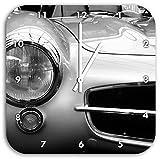 Oldtimer Mercedes, Wanduhr Quadratisch Durchmesser 28cm mit weißen spitzen Zeigern und Ziffernblatt, Dekoartikel, Designuhr, Aluverbund sehr schön für Wohnzimmer, Kinderzimmer, Arbeitszimmer