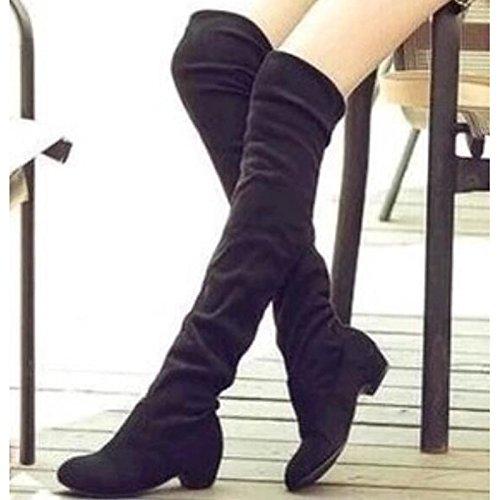 HSXZ Scarpe da donna in pelle Nubuck inverno cadono Slouch Stivali Stivali tacco basso rotondo ginocchio Toe stivali alti per Casual Nero Blu Marrone Black