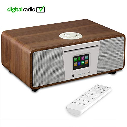 e Smart Music System (2.1 Stereo) with CD, Wi-Fi, Internet Radio, Spotify, Bluetooth, DLNA, DAB, DAB+, FM Radio, Clock, Alarms, Presets, and Wireless App Control - Walnuss ()
