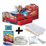 Bebegavroche Komplett-Set Premium Bett, Design Flash McQueen Schubladen, Disney Cars = Bett + Matratze & Kissen