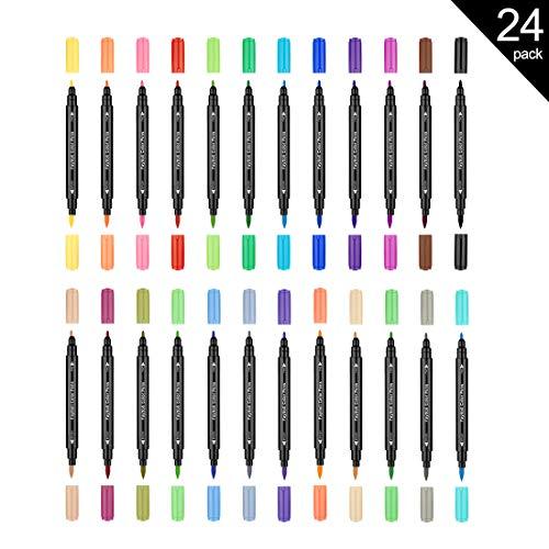 Fayttoli 24 colores rotuladores para colorear - rotuladores de doble punta - para adultos libro para colorear, dibujo, caligrafía, manga