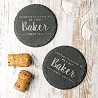 Personalised Slate Coasters For Couples/Natural Slate Coasters/Personalised Wedding Gifts For Bride And Groom/Wedding Anniversary Gifts