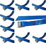 Befestigungsriemen-Set ideal zur Befestigung am Fahrradträger , Klemschloss Gurte , Spanngurte , iapyx® (10er Set, blau)