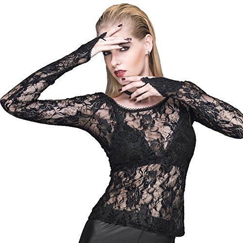 Devil Fashion Frauen Gothic Rose Lace T-Shirt Steampunk Slim Sexy Perspektive mit Handschuhen Lange ?rmel Top T-Shirt Bluse, 2XL (Top T-shirt Handschuh)