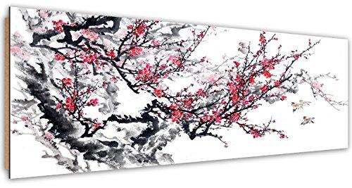 Feeby Frames, Tableau mural, Tableau Déco, Tableau imprimé, Tableau Deco Panel, Panoramique 50x100 cm, ARBRE, BRANCHE, FLEURS, OISEAUX, ROUGE, NOIR