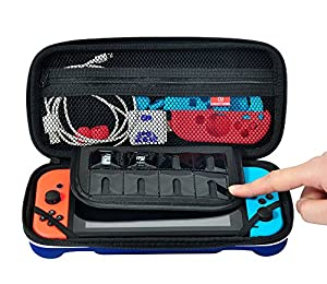 YK Nintendo Switch Case-Protective Hard Carrying Case for Nintendo Switch Accessories, Console and Joy Con (Blue)