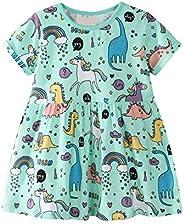 Vestidos Niña Casual Verano Manga Corta Unicornios Estampados Algodon Rayas Infantil Niña Camiseta 1-8 años