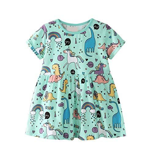 Kleines Mädchen Kleid Kurzarm Baumwolle Cartoon Tier Applique Dinosaurier Einhorn Muster Kleid Kind Mädchen Baumwolle T-Shirt 1-8 Jahre Alt(Grün) (Mädchen Dinosaurier, Für)