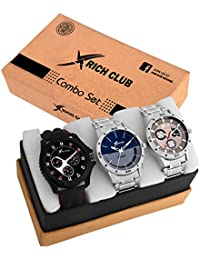 Rich Club Quartz Movement Analogue Display Multicoloured Dial Men's Watch(ARMBLK~27GREY~27SMILY) - Pack of 3