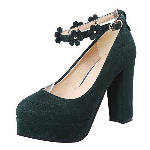 MissSaSa Femmes Escarpins Bout Ronde Plateformes Bride Chevilles Chaussures Suede